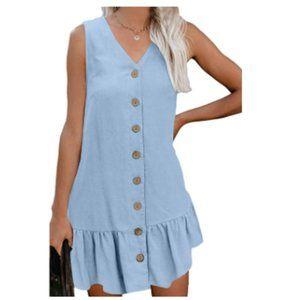 Women's Summer Button Down V Neck Mini Tank Dress